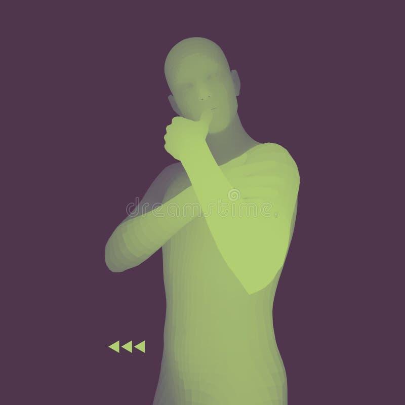 Homem em uma pose do pensador modelo 3D do homem Ilustra??o do vetor do neg?cio, da ci?ncia, da psicologia ou da filosofia ilustração do vetor