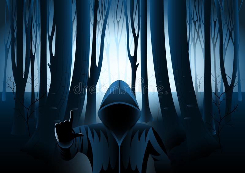 Homem encapuçado na floresta misteriosa escura ilustração stock