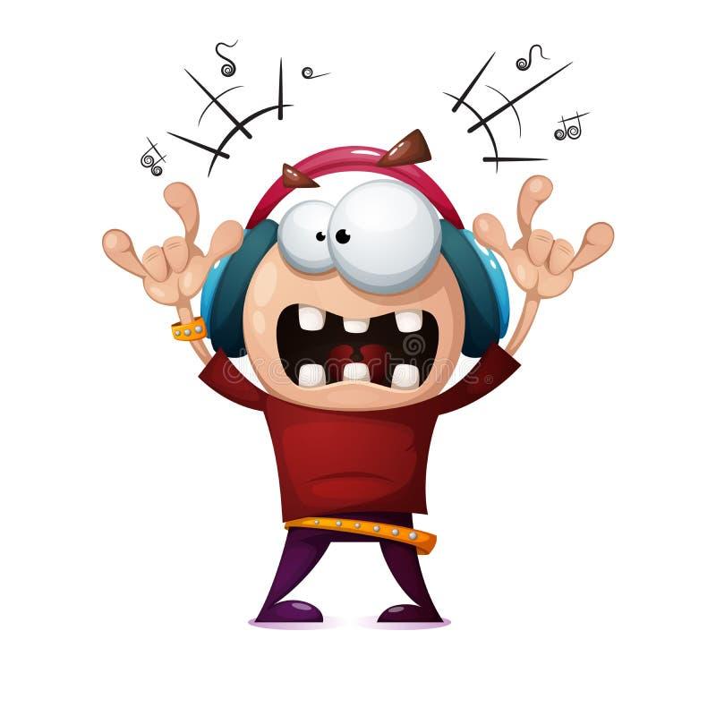 Homem engraçado, bonito, louco da rocha dos desenhos animados Ilustração da música rock ilustração do vetor