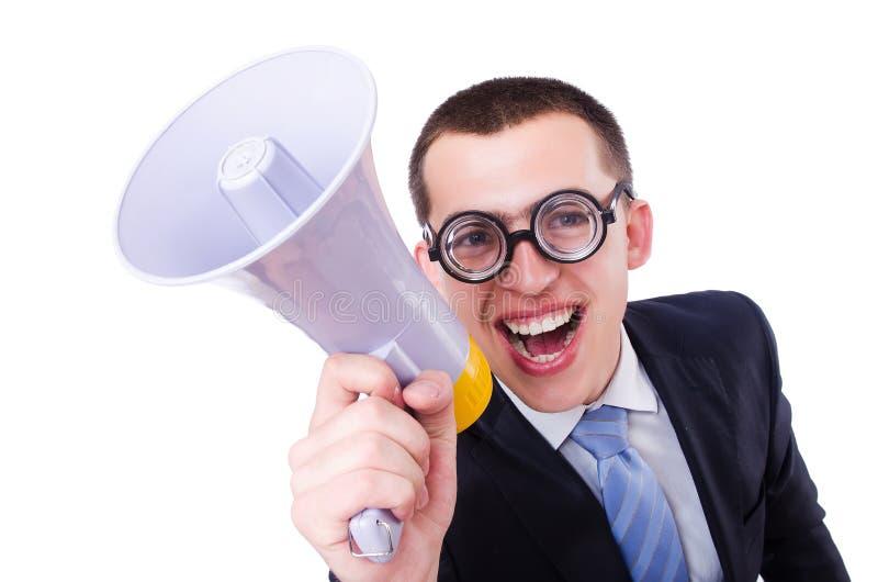 Homem engraçado com altifalante foto de stock royalty free