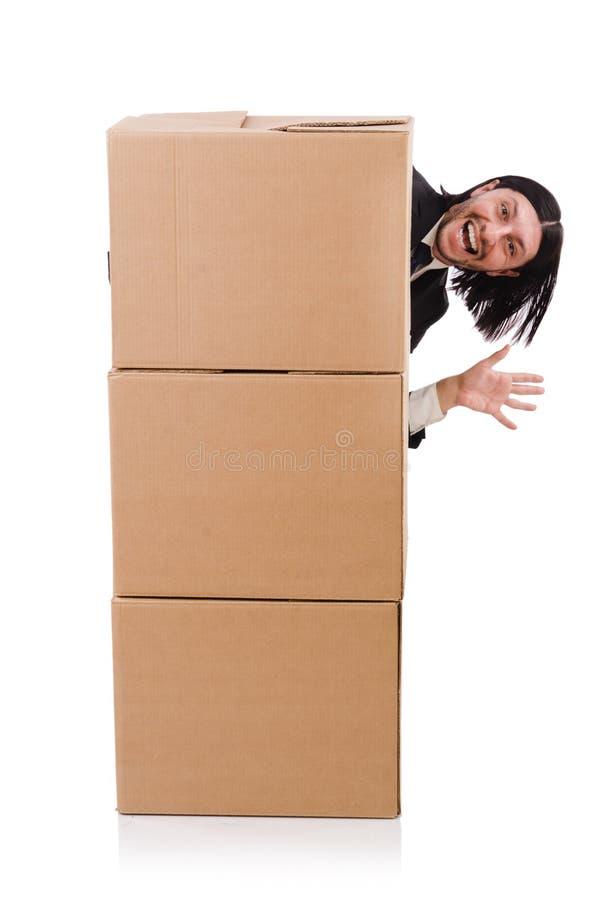 Homem engraçado com caixas fotografia de stock royalty free