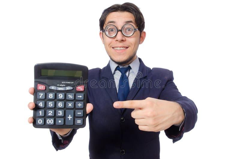 Homem engraçado com a calculadora isolada no branco imagens de stock