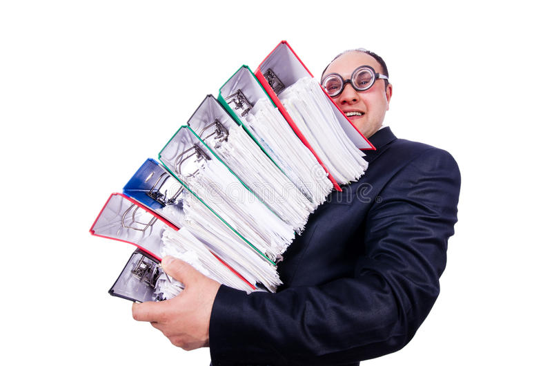 Homem Engraçado Com Lotes Dos Dobradores Foto de Stock