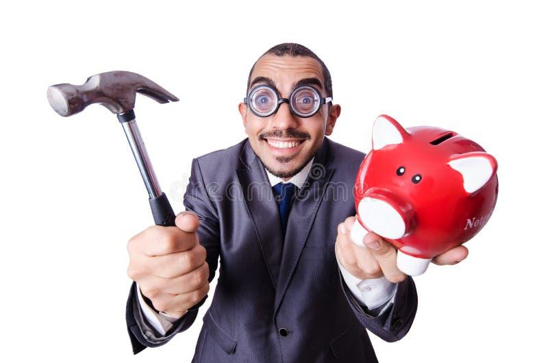 Homem engraçado com piggybank fotos de stock