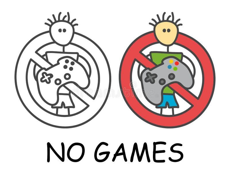 Homem engraçado da vara do vetor com um gamepad no estilo das crianças Não jogue jogos para assinar a proibição vermelha Pare o s ilustração stock