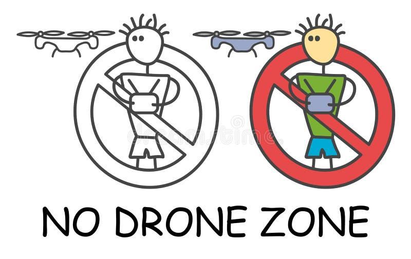 Homem engraçado da vara do vetor com um zangão no estilo das crianças Nenhum quadcopter nenhuma proibição vermelha do sinal da zo ilustração royalty free