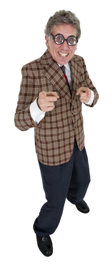 Homem engraçado do vendedor de carro usado, isolado no branco fotografia de stock