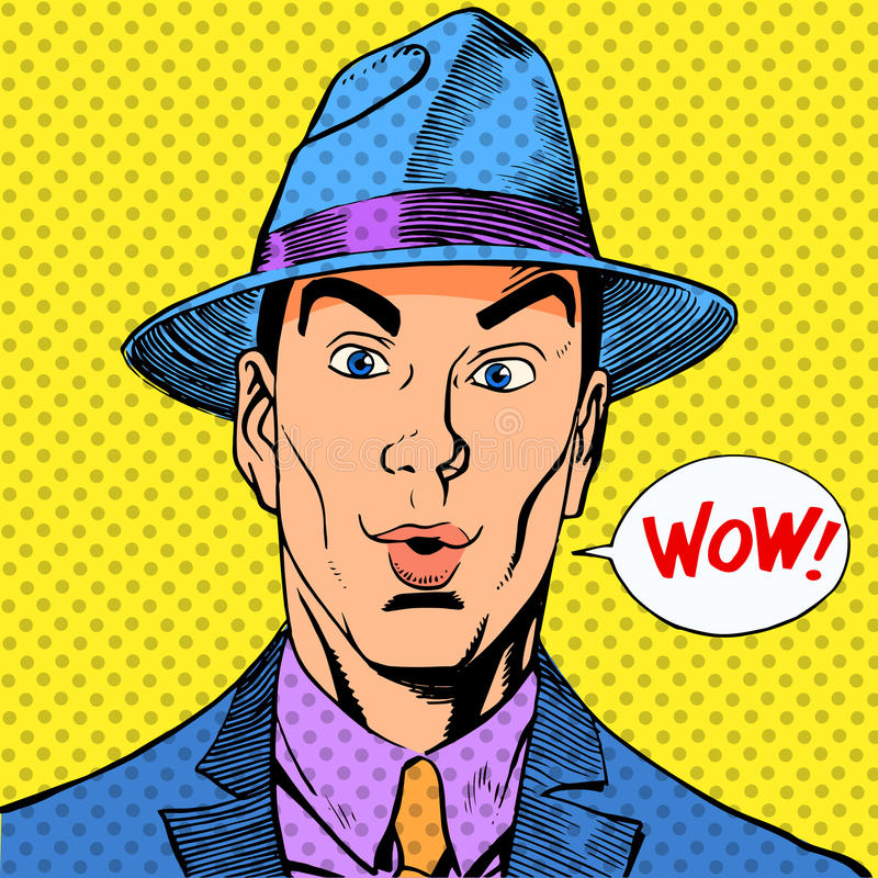 Homem engraçado elegante surpreendido um cavalheiro no chapéu ilustração stock