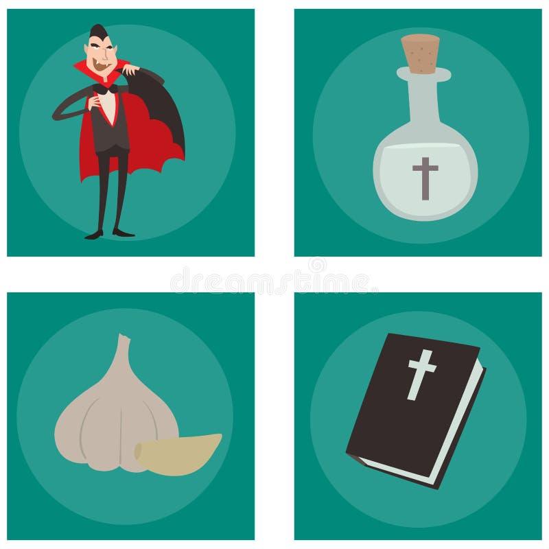 Homem engraçado fantasma da feitiçaria do Dia das Bruxas cômico do caráter dos ícones do vampiro dos símbolos do caixão do vetor  ilustração royalty free