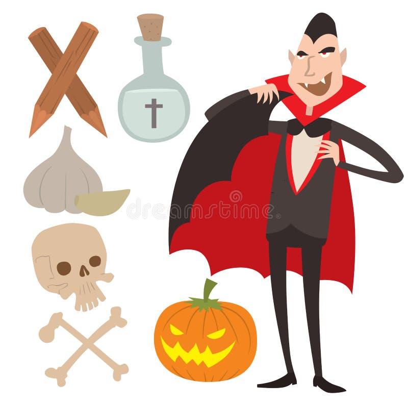 Homem engraçado fantasma da feitiçaria do Dia das Bruxas cômico do caráter dos ícones do vampiro dos símbolos do caixão do vetor  ilustração stock