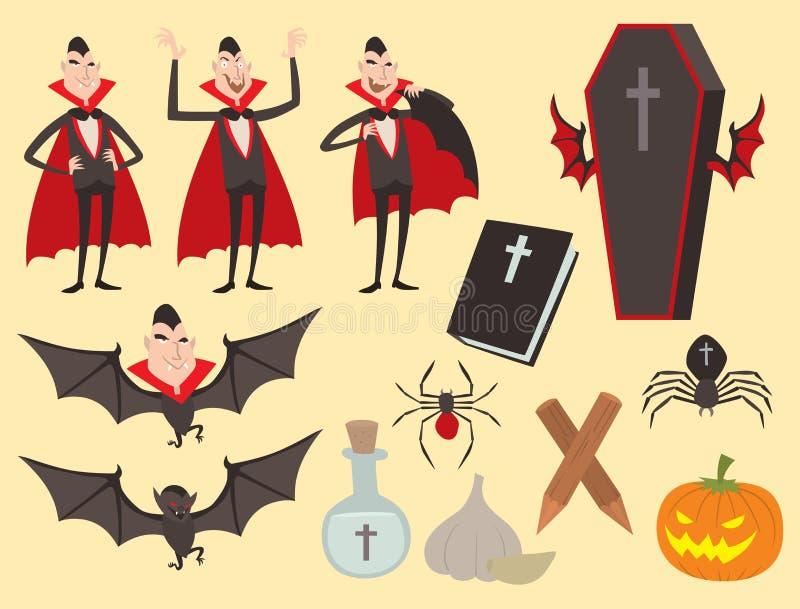 Homem engraçado fantasma da feitiçaria do Dia das Bruxas cômico do caráter dos ícones do vampiro dos símbolos do caixão do vetor  ilustração do vetor
