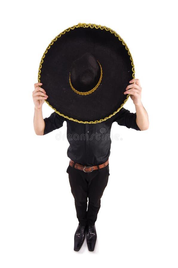 Homem engraçado que veste o chapéu mexicano do sombreiro foto de stock