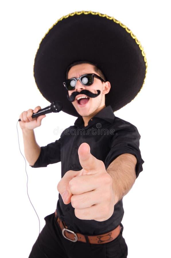 Homem engraçado que veste o chapéu mexicano do sombreiro isolado fotografia de stock royalty free