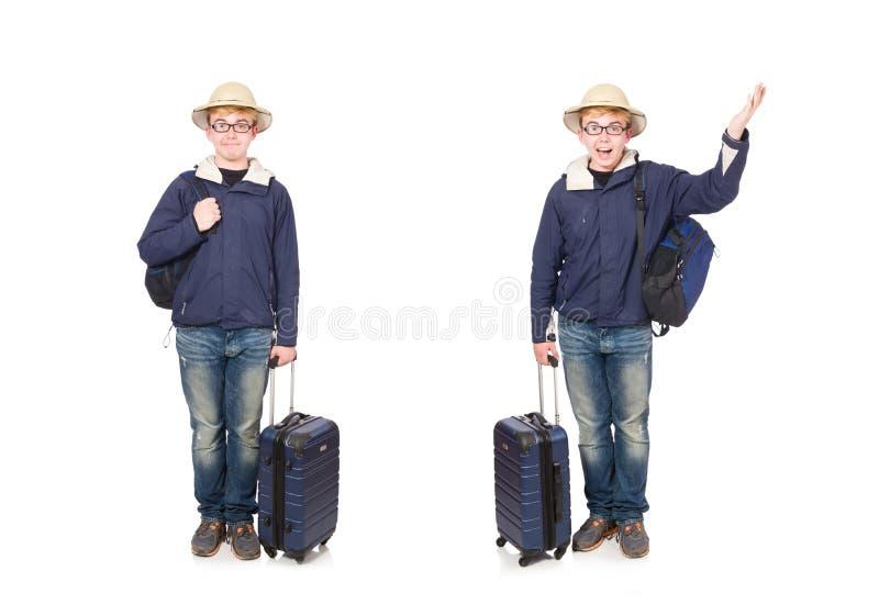 Homem engra?ado com o chap?u vestindo do safari da bagagem fotos de stock royalty free