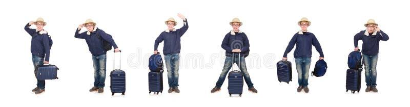 Homem engra?ado com o chap?u vestindo do safari da bagagem foto de stock royalty free
