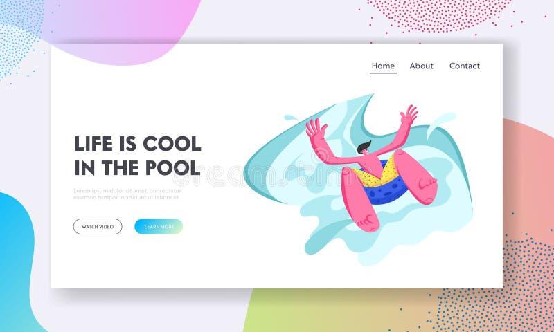 Homem entusiasmado que desliza pelo flutuador inflável em Waterpark em férias do feriado do verão Lazer do verão do divertime ilustração stock