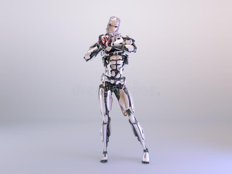 Homem ereto do cyborg do robô, mãos sob a forma do coração ilustração 3D ilustração royalty free