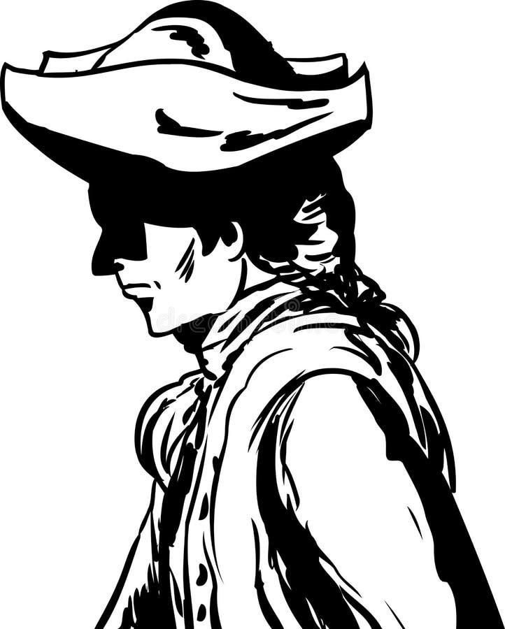 Homem esboçado no chapéu tricorn sobre o branco ilustração royalty free