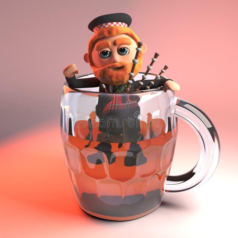 Homem escocês com escaladas vermelhas do kilt da barba e da tartã fora de um vidro da pinta da cerveja com suas gaitas de fole, i ilustração stock