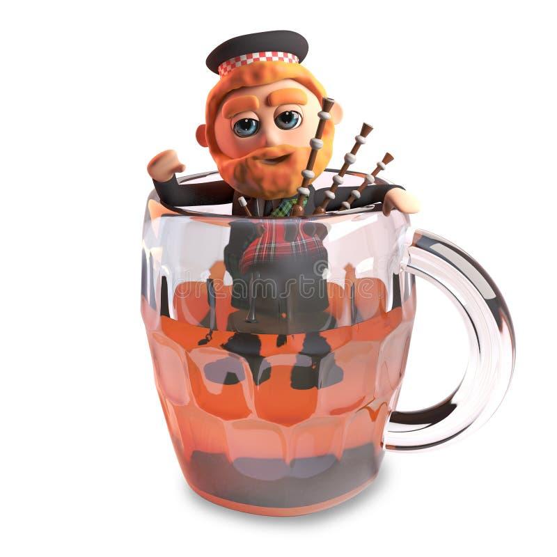 homem escocês engraçado dos desenhos animados 3d com escaladas vermelhas do kilt da barba e da tartã fora de uma pinta da cerveja ilustração royalty free