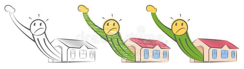 Homem espremido em um apartamento muito pequeno Um tamanho n?o cabe tudo Lugar pequeno abarrotado Um gigante sai de uma casa pequ ilustração do vetor