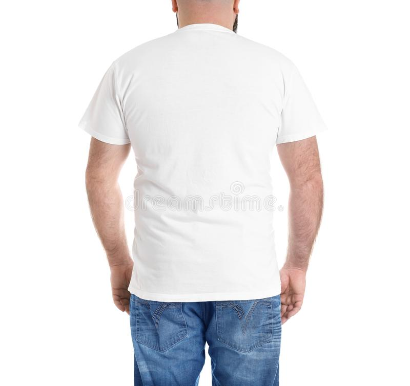 Homem excesso de peso isolado no branco Perda de peso foto de stock royalty free