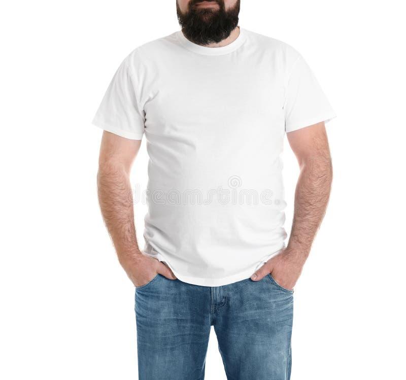 Homem excesso de peso isolado no branco Perda de peso imagem de stock royalty free