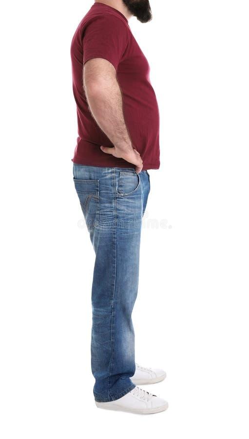 Homem excesso de peso isolado no branco Perda de peso fotografia de stock royalty free