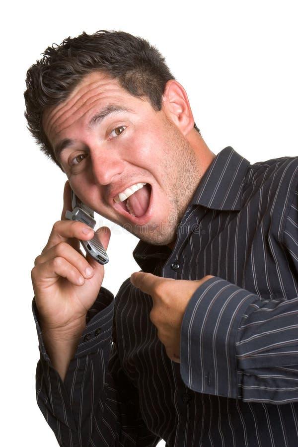 Homem Excited do telefone imagens de stock royalty free
