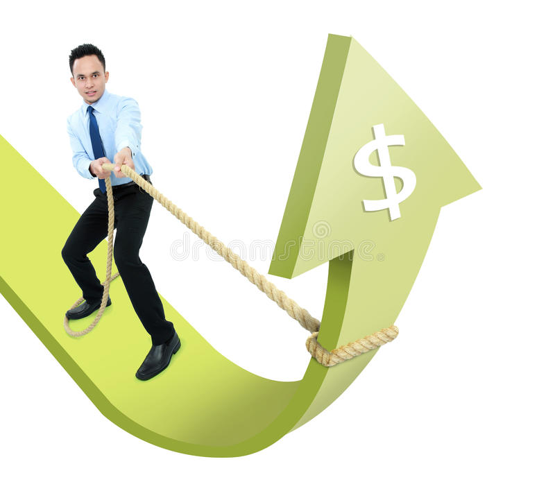 Homem executivo masculino que puxa para cima uma seta fotografia de stock royalty free