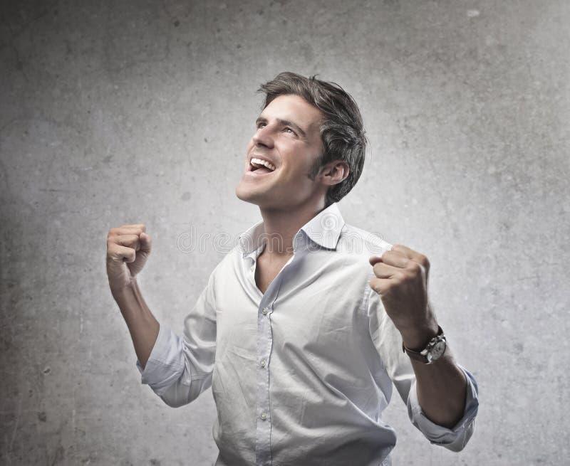 Homem Exulting foto de stock royalty free