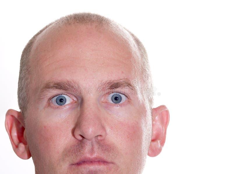 Homem Eyed azul espantado 2 fotografia de stock royalty free