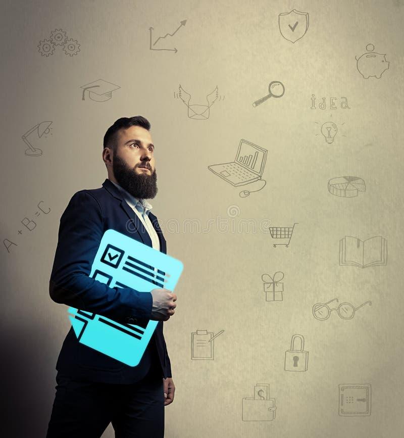Homem farpado com ícone do questionário fotografia de stock