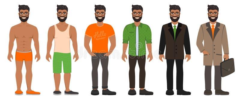 Homem farpado considerável de sorriso em tipos diferentes roupa ilustração do vetor