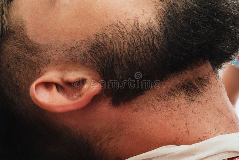 Homem farpado considerável no barbeiro O barbeiro escova e corta o cabelo imagens de stock royalty free