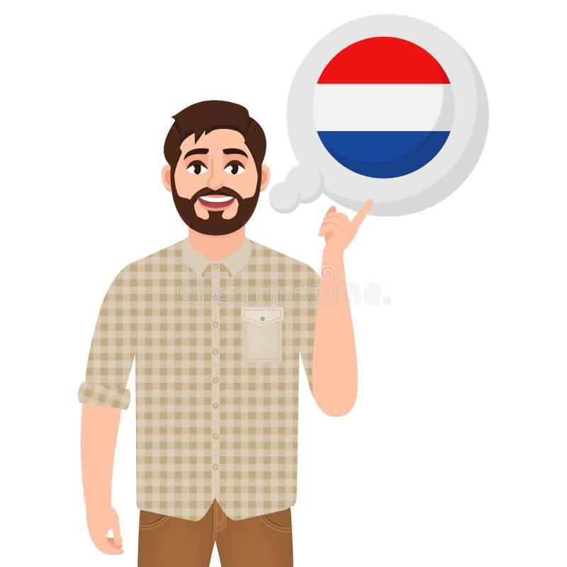 Homem farpado feliz que fala ou que pensa sobre o país dos Países Baixos, do ícone do país europeu, do viajante ou do turista ilustração stock
