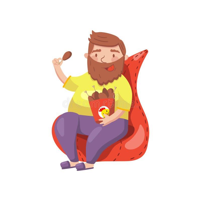 Homem farpado gordo que senta-se na poltrona e que come a ilustração do vetor dos desenhos animados dos pés de frango frito ilustração royalty free