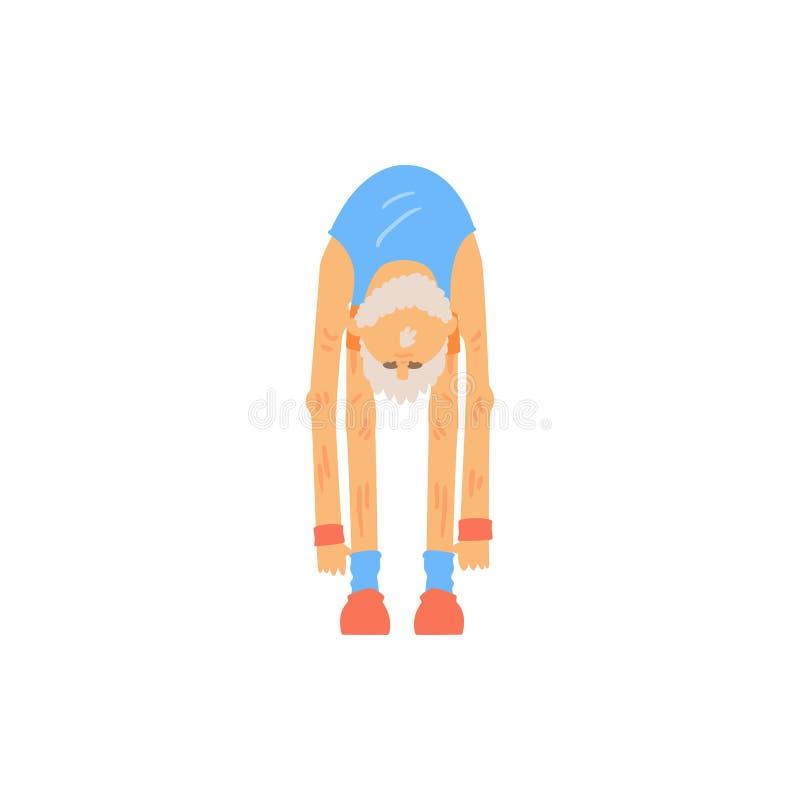 Homem farpado idoso que faz o toque do dedo do pé que estica o exercício Caráter de primeira geração atlético no desgaste dos esp