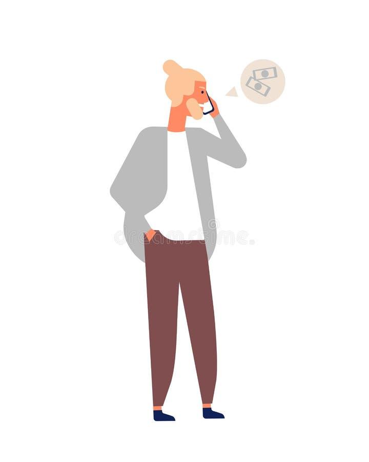 Homem farpado louro novo que fala usando o smartphone Indivíduo do moderno que tem a conversa telefônica ou o diálogo Caráter mas ilustração do vetor