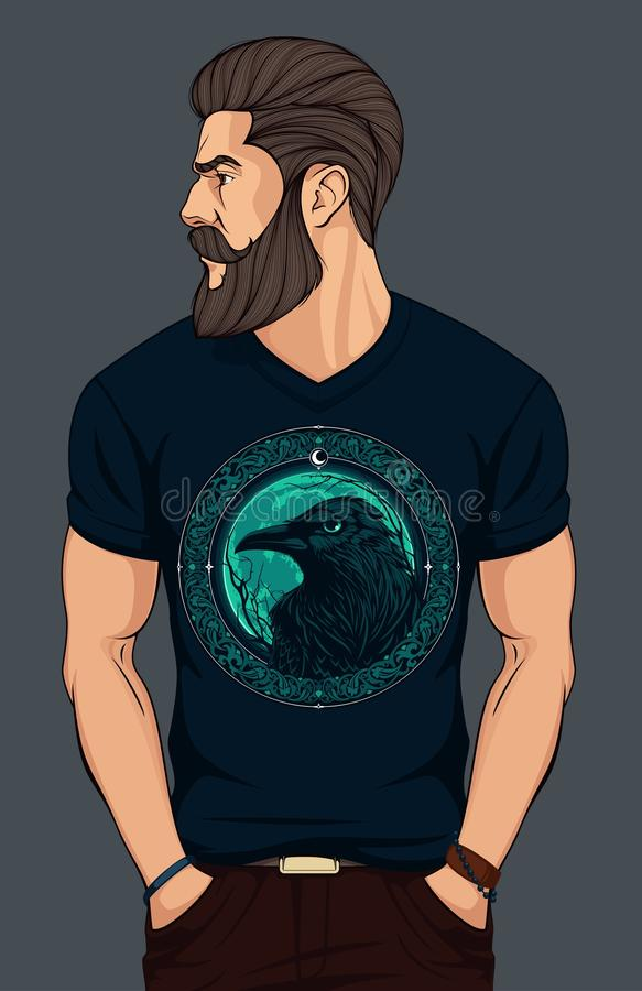 Homem farpado na camisa de t com corvo ilustração stock
