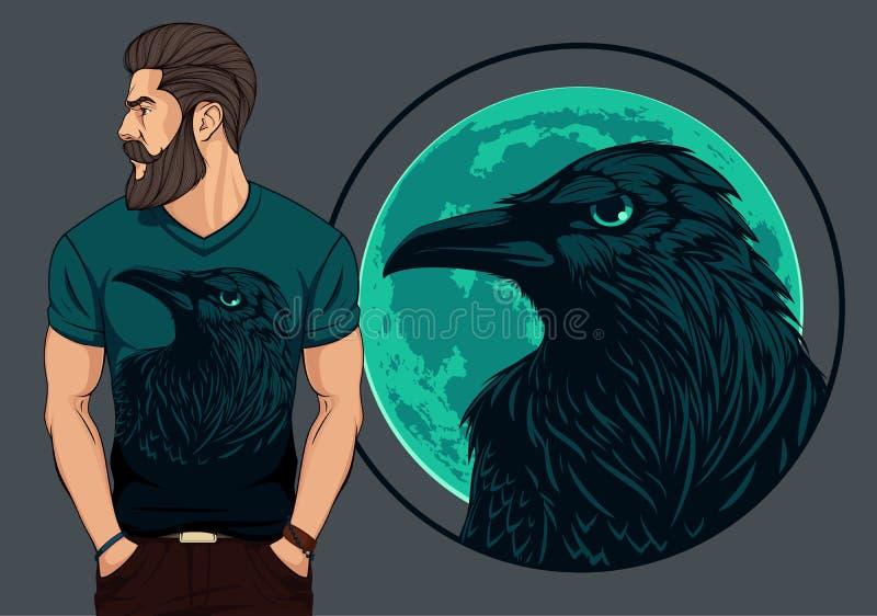 Homem farpado na camisa de t com corvo ilustração do vetor