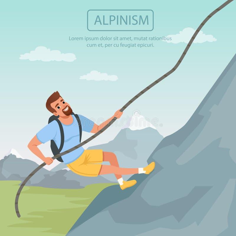 Homem farpado que escala na montanha usando a corda Homem dos desenhos animados ilustração do vetor