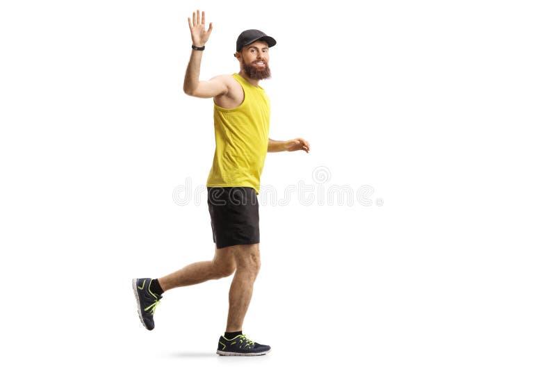 Homem farpado que movimenta-se e que acena imagens de stock royalty free
