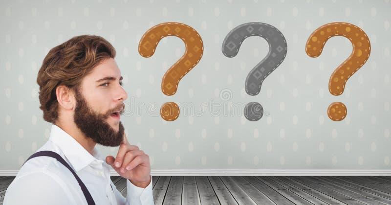 Homem farpado que pensa com pontos de interrogação costurados ilustração stock