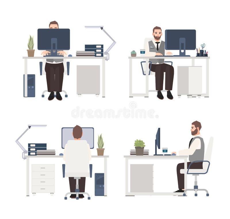 Homem farpado que trabalha no computador no local de trabalho Caixeiro ou gerente masculino que sentam-se na mesa de escritório p ilustração stock