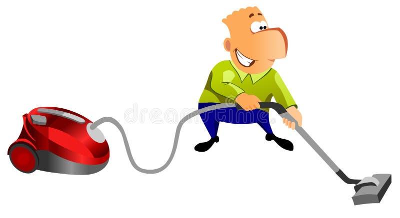 Homem feliz com aspirador de p30. ilustração do vetor