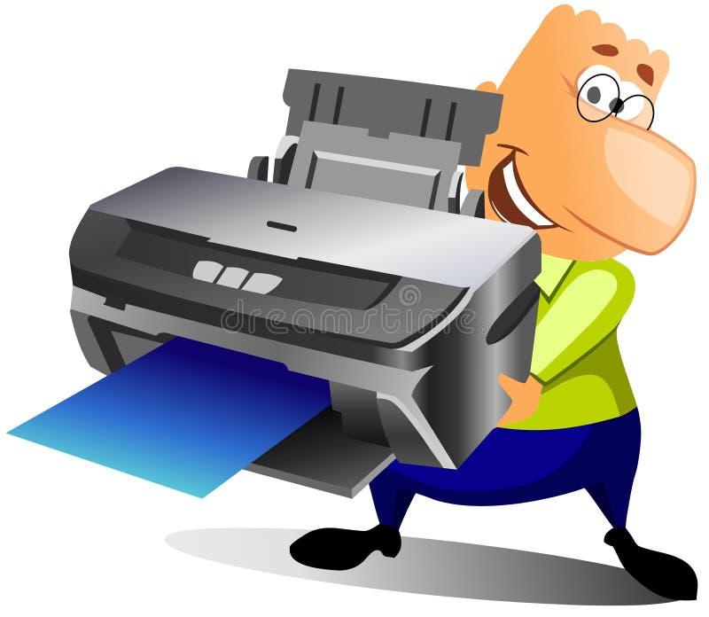 Homem feliz com impressora ilustração stock