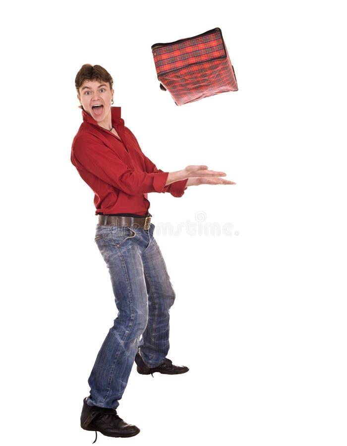 Homem feliz com mala de viagem do curso. imagem de stock royalty free