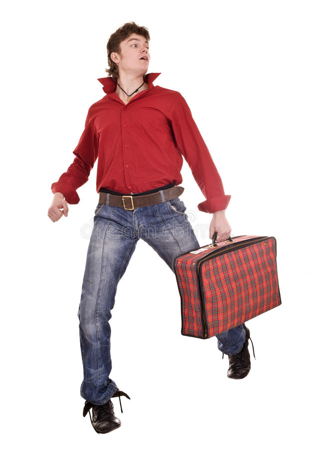 Homem feliz com mala de viagem do curso. fotografia de stock