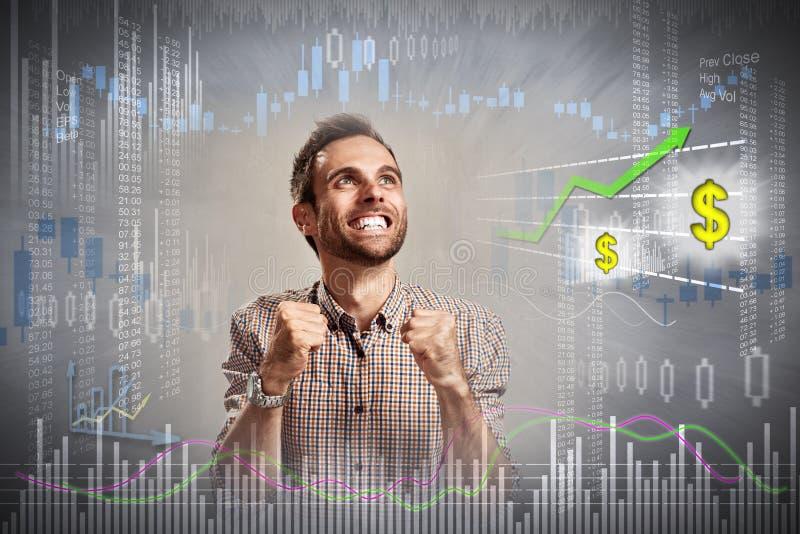 Homem feliz do acionista foto de stock